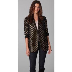 DVF Morrison Blazer Jacket Black/Gold Sz 6